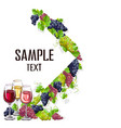 card template with glasses of wine vector image vector image