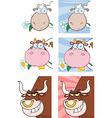 Cartoon animal heads vector image vector image