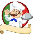Cartoon funny Italian Chef cartoon holding platter vector image vector image
