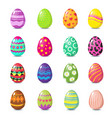 cartoon happy easter cute eggs set vector image vector image