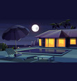 cartoon hotel at night tropical resort vector image vector image