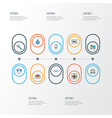christmas icons colored line set with ribbon vector image vector image