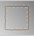 christmas lights square light string frame vector image vector image