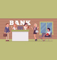 clients and consultants in a bank office vector image vector image