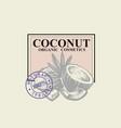 coconut sketch oil cosmetics emblem vector image