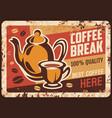 coffee shop retro banner or old signboard vector image vector image