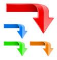 colored bent arrows down 3d symbols vector image