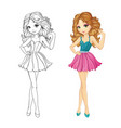 Coloring Book Of Curle Girl vector image vector image