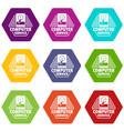 computer service icons set 9 vector image vector image