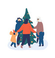dancing near christmas tree vector image
