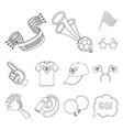 fan and attributes outline icons in set collection vector image