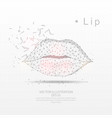 female lips digitally drawn low poly triangle vector image