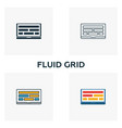 fluid grid icon set four elements in diferent vector image vector image