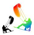 freestyle kiteboarding rider set icon vector image vector image