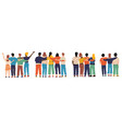 friends from behind hugging happy characters back vector image