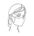 girl using safety breathing mask vector image