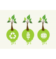Green concept tree icon set vector image vector image