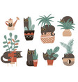 guilty cat characters set cute naughty playful vector image