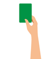 Hand Holding A Green Card Isolated On White vector image vector image
