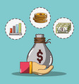 hand with bag and statistic and coins with bills vector image vector image