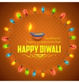 Happy Diwali background decorated with light vector image
