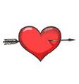 heart symbol pierced with arrow sketch engraving vector image vector image