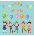 Kids holding colorful balloons at a party vector image vector image
