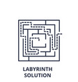 labyrinth solution line icon concept labyrinth vector image vector image