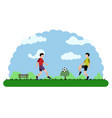 landscape of a park with children playing vector image vector image