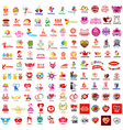 large set logos holiday vector image
