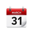March 31 flat daily calendar icon Date vector image