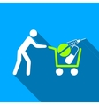 Medical Shopping Cart Flat Long Shadow Square Icon vector image vector image