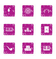 money luck icons set grunge style vector image vector image