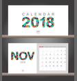 november 2018 calendar desk calendar modern vector image vector image