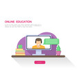 online teacher on the monitor screen flat vector image vector image