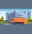 orange garbage truck urban sanitary vehicle moving vector image