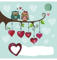 Owls couple sitting on a branch with heart vector image