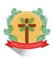 palm sunday cross branch frond ribbon badge shadow vector image vector image
