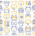 pet shop seamless pattern with thin line icon vector image vector image