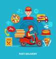 pizza delivery service composition vector image