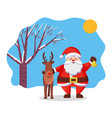 reindeer and santa claus christmas and new year vector image