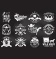 set cowboy club badge on chalkboard vector image