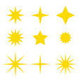 set of flat yellow shining stars vector image vector image