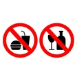 Set of icons forbidding food