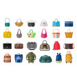 set of icons of bags and luggage vector image vector image