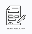 sign application flat line icon outline vector image vector image