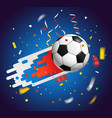 soccer ball with confetti world competition vector image vector image