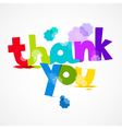 Thank You Colorful Title with Splashes Isolated on vector image vector image