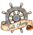 watercolor vintage style nautical wheel vector image vector image