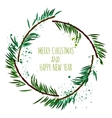 White card with minimalistic Christmas wreath and vector image vector image